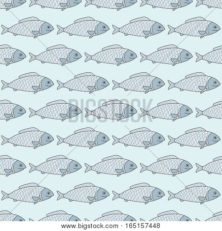 Sea collection seamless pattern. Hand drawn fish. Vector illustration