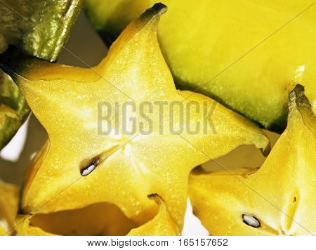 delicious carambola asian exotic fruit on white background isolated close up