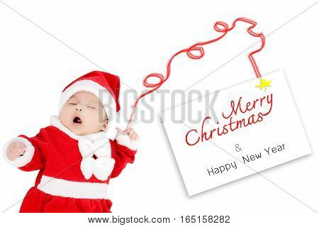 Portrait Of Adorable Baby Girl With Santa Costume. Isolated On White Background With Merry Christmas