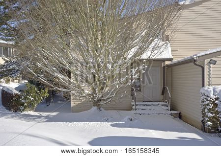 Guest house and snow covered ground Gresham Oregon.
