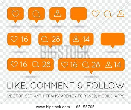 Vector Like, Follower and Comment Icon Set
