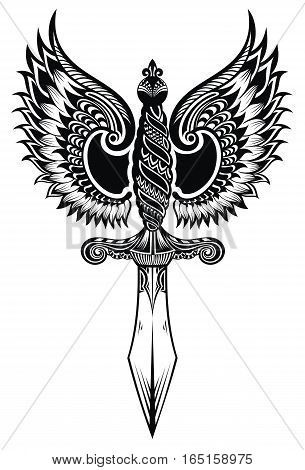 Ornate sword with wings. Tattoo sword for your design