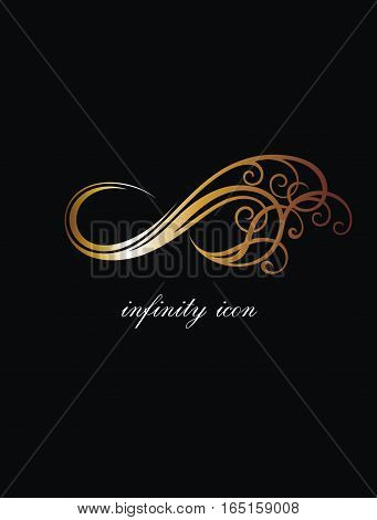 Infinity in gold. Infinity symbol for your design