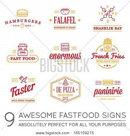 Set of Vector Fastfood Fast Food Elements Icons and Equipment as Illustration can be used as Logo or Icon in premium quality with Fictitious Names