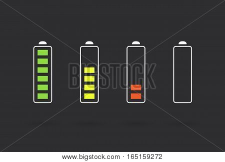 Vector Battery Accumulator Charge Icon or Symbol Set