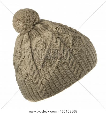 Knitted Hat Isolated On White Background .hat With Pompon .   Gray Hat  .
