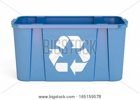 Blue recycling bin 3D rendering isolated on white background