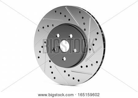 Car disc brake rotor 3D rendering isolated on white background