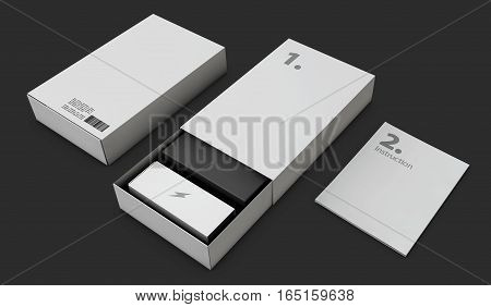 3D Illustration Of Opened Gray Modern Software Package Box For Your Product Isolated Black