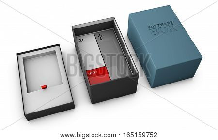 3D Illustration Of Opened Blue Modern Software Package Box For Your Product