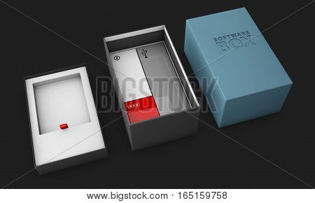 3D Illustration Of Opened Blue Modern Software Package Box For Your Product Isolated Black