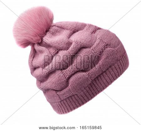 Women's Knitted Hat Isolated On White Background.hat With Pompon.pink Hat .