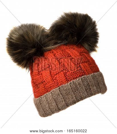 Women's Knitted Hat Isolated On White Background.hat With Pompon. Red Gray Hat With Black Pompons .
