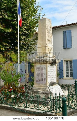 Le Bois Plage en Re France - september 27 2016 : the war memorial