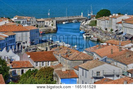 Saint Martin de Re France - september 25 2016 : the picturesque village in the middle of the island