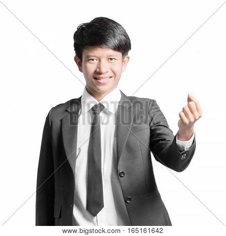 Portrait Of A Handsome Businessman Showing Mini Heart Finger. Isolated On White Background