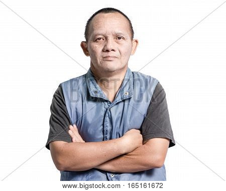 Portrait Of A Man With Down Syndrome. Isolated On White Background