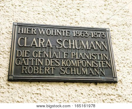 BADEN-BADEN GERMANY - NOV 20 2014: Clara Schumman the wife of Robert Schumann compositor has lived here - memorial plaque in central Baden-Baden Germany. Clara Schumann (née Clara Josephine Wieck; 13 September 1819 - 20 May 1896) was a German musician and