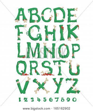 cartoon horrible zombie letters Halloween vector set