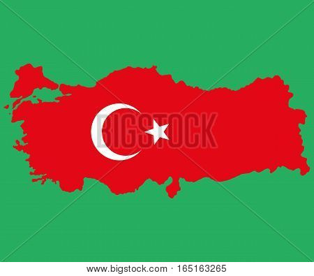 Map of Turkey Turkish flag painted with color symbols of the moon and stars on a white background