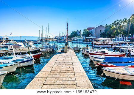 View at sea port in mediterranean town Bol, Island Brac, croatian famous summer resort.