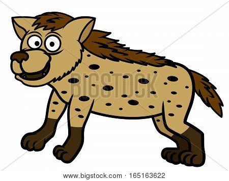 Hyena Cartoon Animal Character Isolated on White