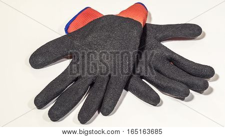 Work gloves closeup on a white background. Isolated.