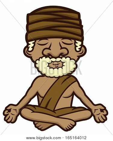 Meditating guru sitting in lotus position crossed legs and eyes closed cartoon illustration
