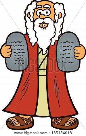 Moses with Two Stones of Ten Commandments Cartoon Illustration