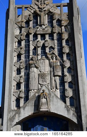 Aubergenville France - october 9 2016 : the picturesque concrete Sainte Therese church