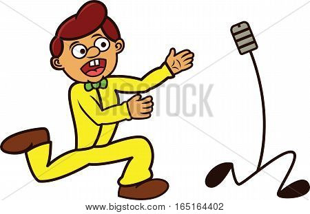 Presenter Chasing His Running Microphone Cartoon Illustration
