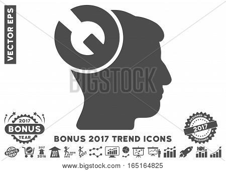 Gray Head Surgery Wrench pictogram with bonus 2017 year trend icon set. Vector illustration style is flat iconic symbols white background.