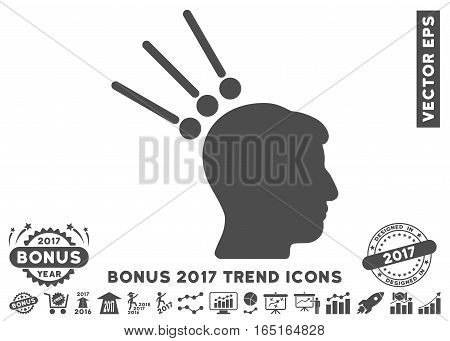 Gray Head Test Connectors pictogram with bonus 2017 trend pictures. Vector illustration style is flat iconic symbols white background.
