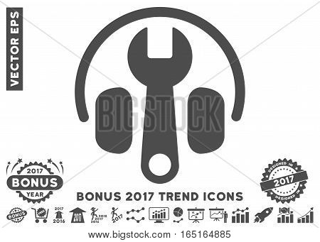 Gray Headphones Tuning Wrench pictograph with bonus 2017 year trend pictograph collection. Vector illustration style is flat iconic symbols white background.