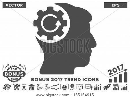 Gray Intellect Gear Rotation pictograph with bonus 2017 trend design elements. Vector illustration style is flat iconic symbols white background.