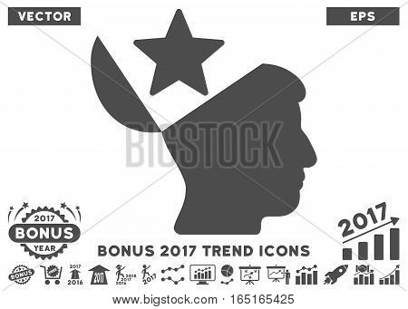 Gray Open Head Star pictogram with bonus 2017 year trend design elements. Vector illustration style is flat iconic symbols white background.