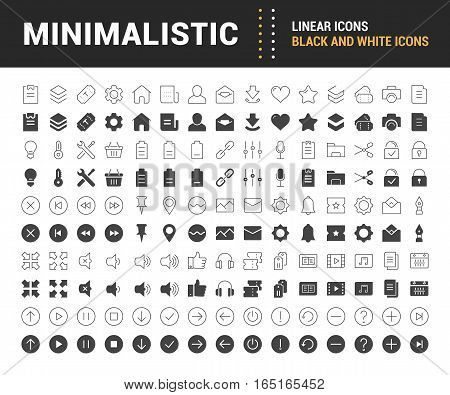 Set vector line icons in flat design minimalistic with elements for mobile concepts and web apps. Collection modern infographic logo and pictogram.
