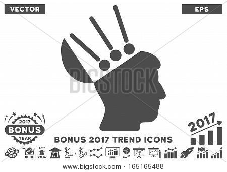 Gray Open Mind Interface pictogram with bonus 2017 year trend pictures. Vector illustration style is flat iconic symbols white background.