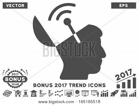 Gray Open Mind Radio Interface pictograph with bonus 2017 year trend pictograms. Vector illustration style is flat iconic symbols white background.
