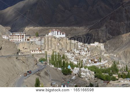 Lamayuru Gompa is a Tibetan Buddhist monastery and big mountain. Ladakh India. View of the village Lamayuru and mountains Himalaya