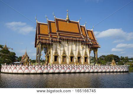 Buddhist pagoda part of temple complex Wat Plai Laem on Samui island. Thailand Koh Samui