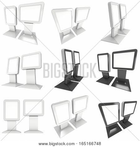 LCD Screen Stand. Blank Trade Show Booth Set. 3d render of lcd tv isolated on white background. High Resolution. Ad template for your expo design.