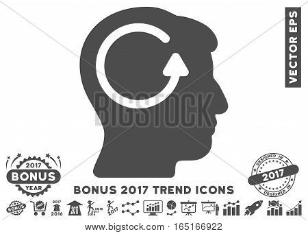 Gray Refresh Head Memory icon with bonus 2017 trend icon set. Vector illustration style is flat iconic symbols white background.