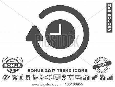 Gray Repeat Clock icon with bonus 2017 trend symbols. Vector illustration style is flat iconic symbols white background.