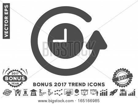Gray Restore Clock pictograph with bonus 2017 year trend elements. Vector illustration style is flat iconic symbols white background.