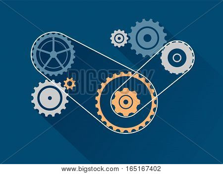 Vector set isolated on white. Cog, sprocket, wheel