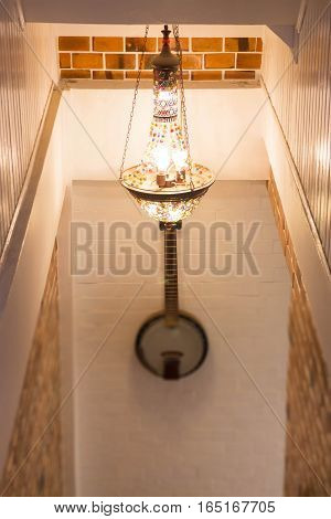 Classic beautiful light of chandelier decoration stock photo