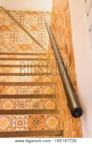 Vintage retro interior stair step stock photo
