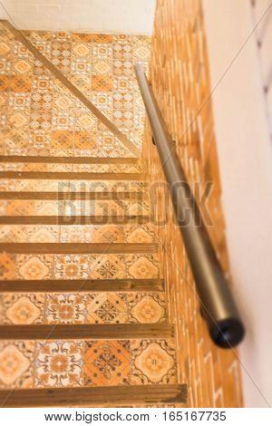 Vintage retro interior stair step stock photo