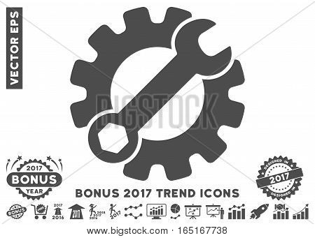 Gray Service Tools pictograph with bonus 2017 trend clip art. Vector illustration style is flat iconic symbols white background.